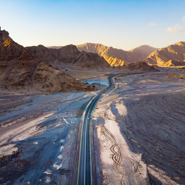 """Jebal Jais desert mountain road in the United Arab Emirates"" stock image"