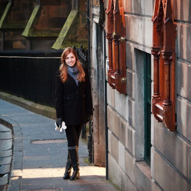"""Girl in Edinburgh, Scotland"" stock image"