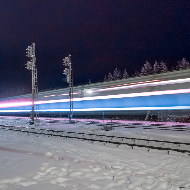 """traces of train lights on night railway"" stock image"
