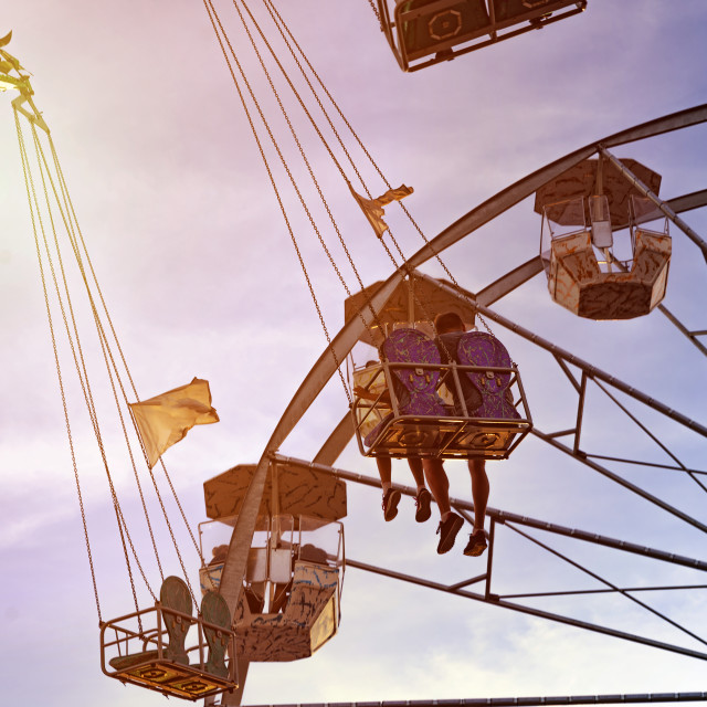 """""""fun in the lunapark, people on the rollercoaster and big wheel, susnet"""" stock image"""