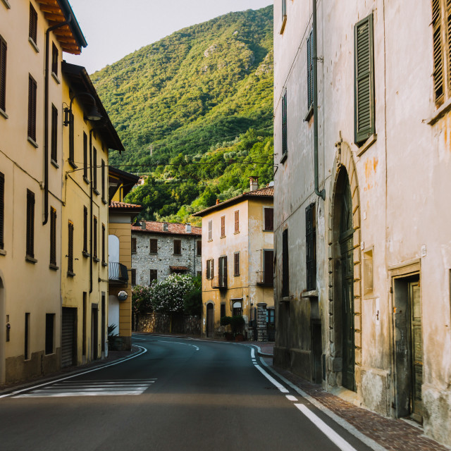 """""""driving a car through Lobardy in Italy, Lake Iseo"""" stock image"""