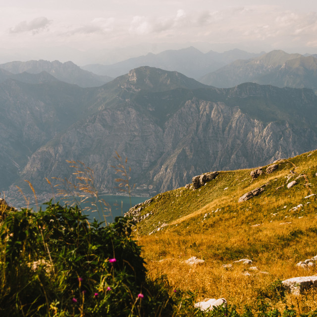 """""""panoramic view from Monte Baldo in Italy"""" stock image"""