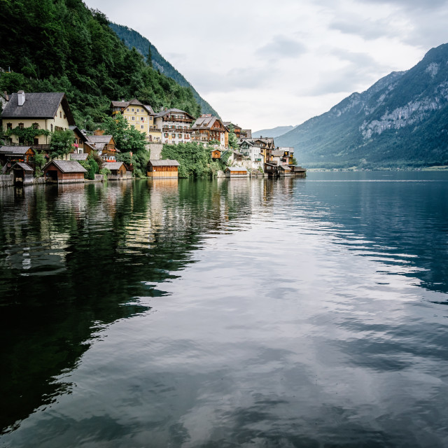 """Scenic view of lakeside of Hallstatt in Austria"" stock image"