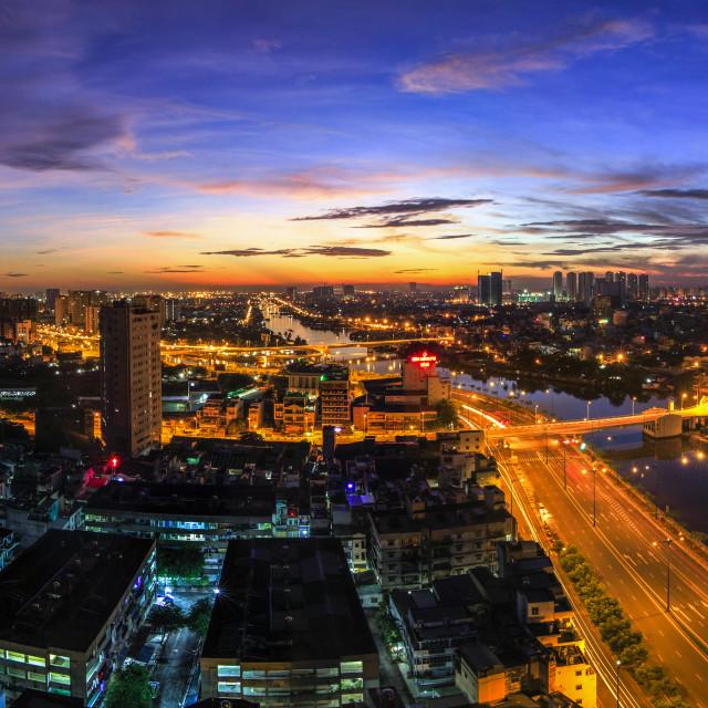 """""""Night view of Saigon City, Vietnam"""" stock image"""