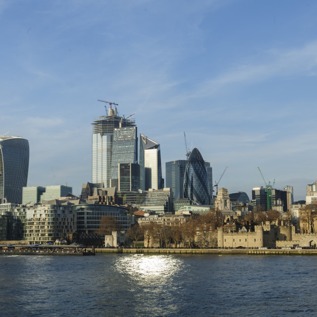 """City of London from Tower Bridge"" stock image"