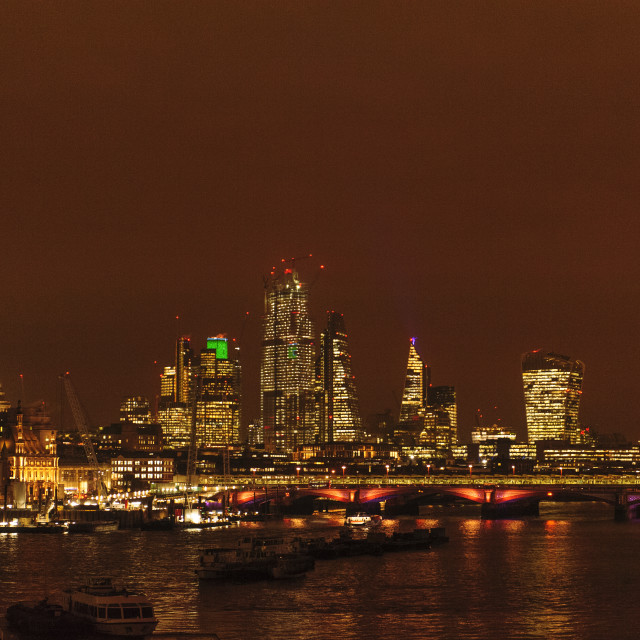 """London at Night shot from Waterloo Bridge"" stock image"