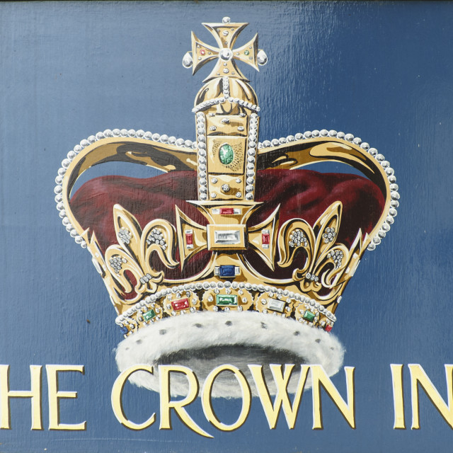 """Sign of the Crown Inn, St Ewe, Cornwall"" stock image"