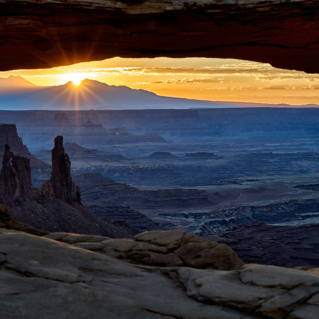 """""""sunrise at Mesa Arch in Canyonlands National Park"""" stock image"""