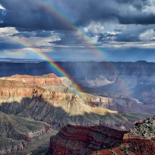 """""""thunderstorm and rainbow over Grand Canyon"""" stock image"""