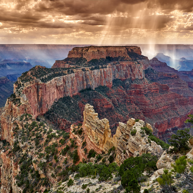 """""""thunderstorm and sun beams over Grand Canyon"""" stock image"""
