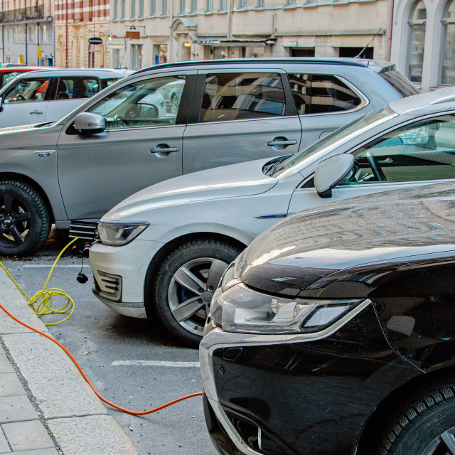 """""""Charge some cars"""" stock image"""