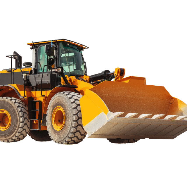 """""""Backhoe loader - excavator with clipping path isolated"""" stock image"""