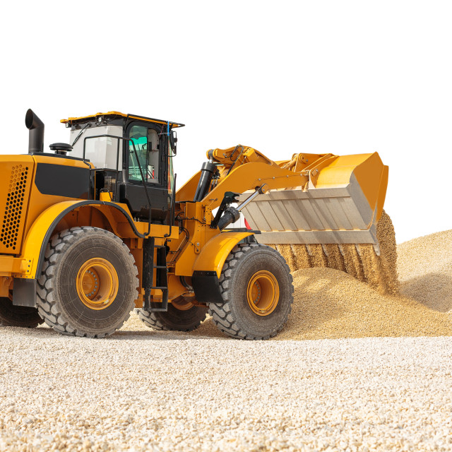 """""""Working bulldozer on a building site isolated with clipping path"""" stock image"""