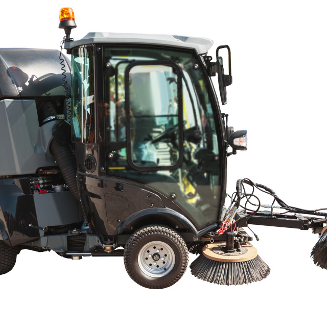 """""""Street sweeper or cleaning machine for streets isolated with cli"""" stock image"""