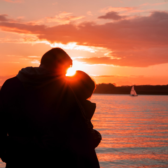 """""""Lovers Sunset"""" stock image"""
