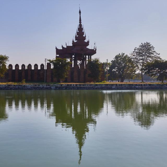 """""""Palace walls, moat and watchtower, Mandalay, Myanmar"""" stock image"""