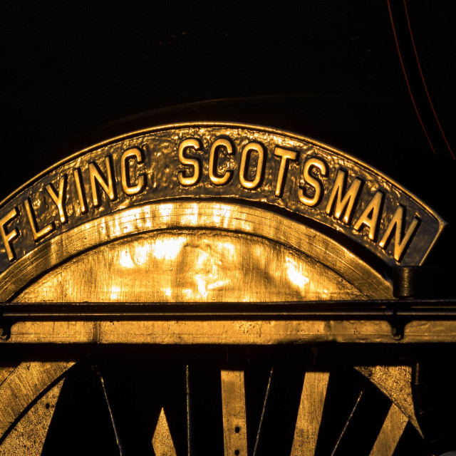 """""""The Flying Scotsman Nameplate"""" stock image"""
