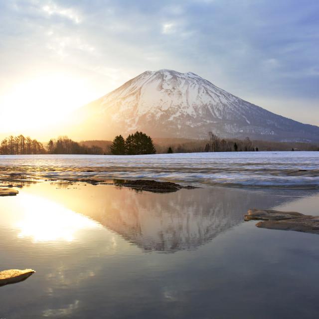"""Sunrise in Niseko, Mont Yotei"" stock image"