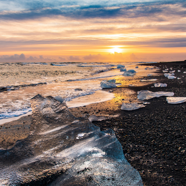 """Diamond beach in Iceland during sunset"" stock image"