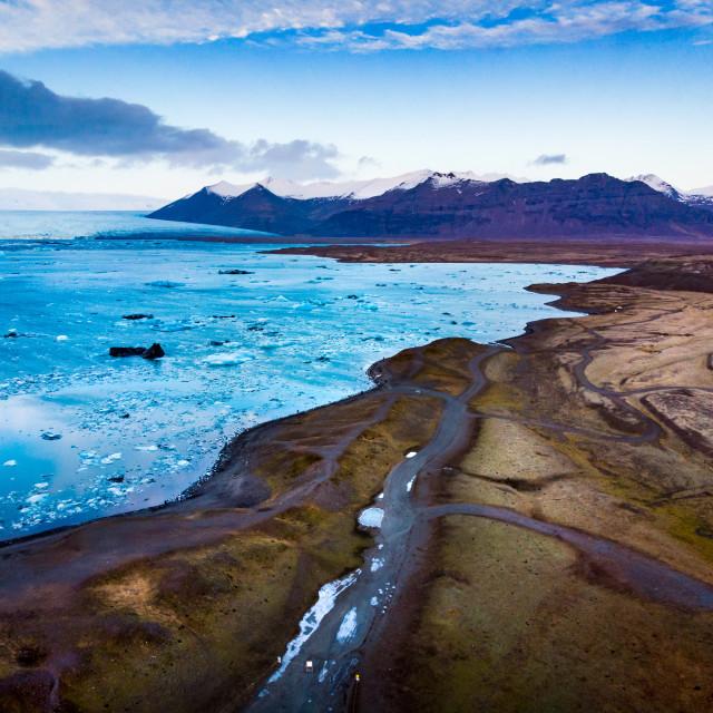 """Jokulsarlon Glacier Lagoon in Iceland aerial view"" stock image"