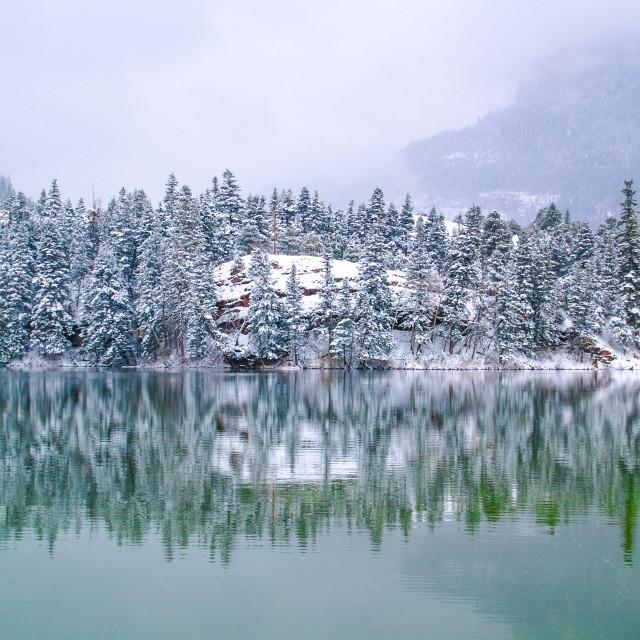"""Snow at Lake Lenore"" stock image"