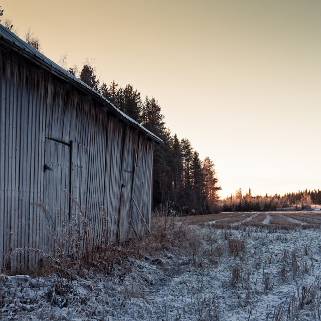 """""""Frosty Barn House By The Fields"""" stock image"""