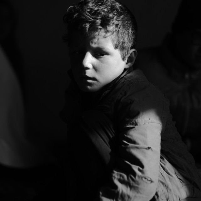 """The Boy in The Shadows"" stock image"