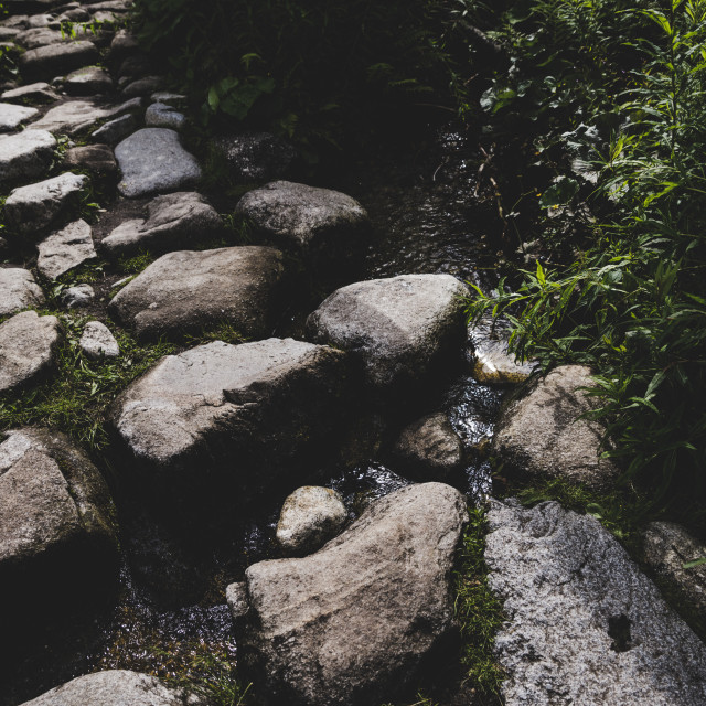 """""""Stone road in mountain, vintage eff"""" stock image"""