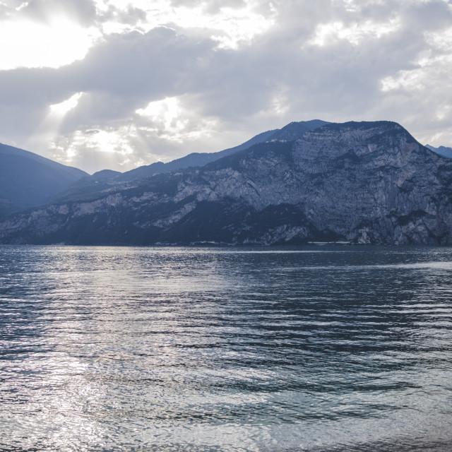 """Dramatic sunset over Garda Lake in Italy"" stock image"
