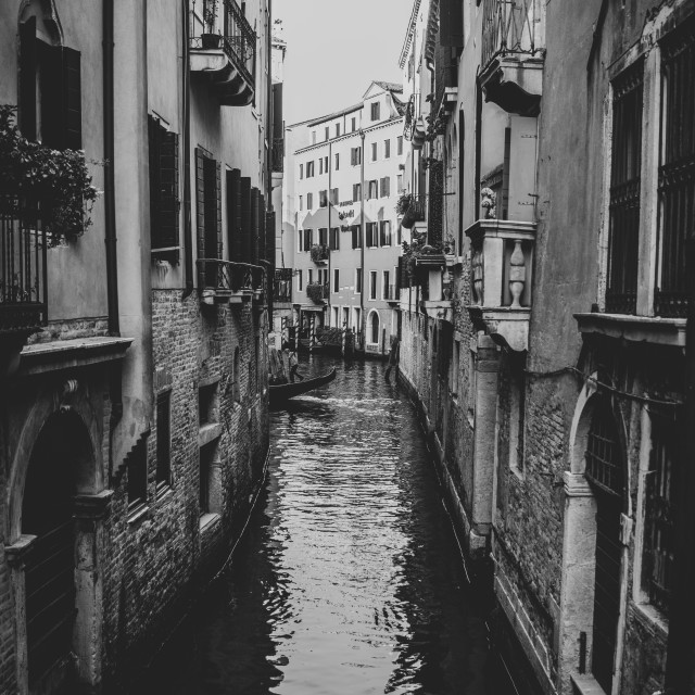 """""""Venice Italy in black and white, vintage concept"""" stock image"""