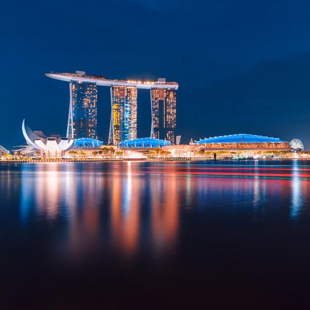 """Smooth Blue Marina Bay Sands"" stock image"
