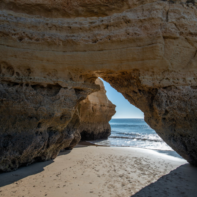"""Cave View of Praia Da Rocha Beach"" stock image"