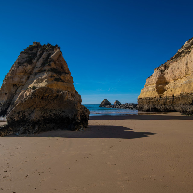"""Cliffs and Beach of Praia Da Rocha"" stock image"