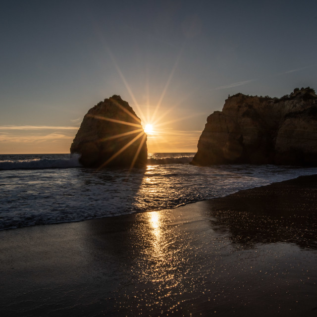"""Sunset at Praia Da Rocha"" stock image"