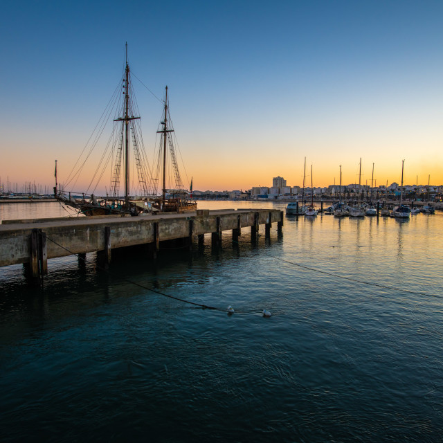 """Sunset at Portimao Port in Portugal"" stock image"
