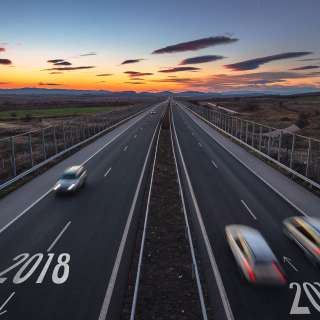 """Driving on open road at beautiful sunny day to new year 2019. Ae"" stock image"