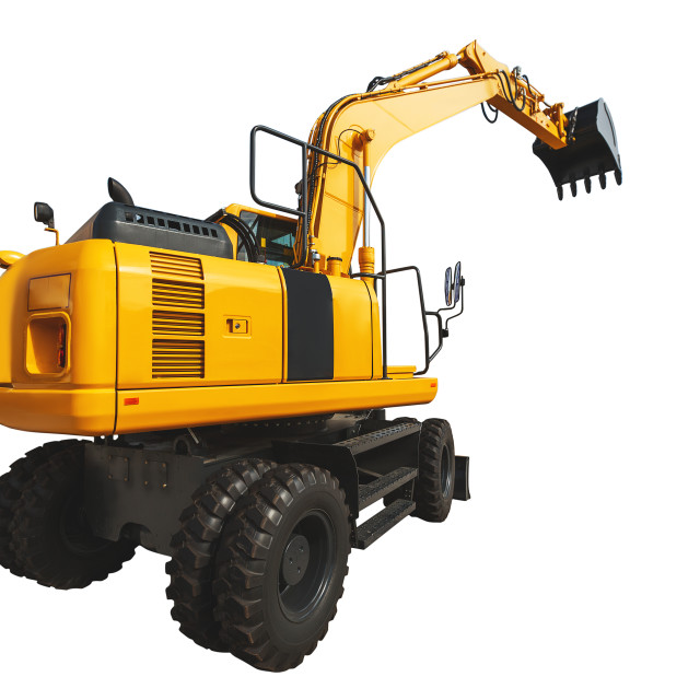 """""""Excavator loader and bucket with clipping path isolated over whi"""" stock image"""