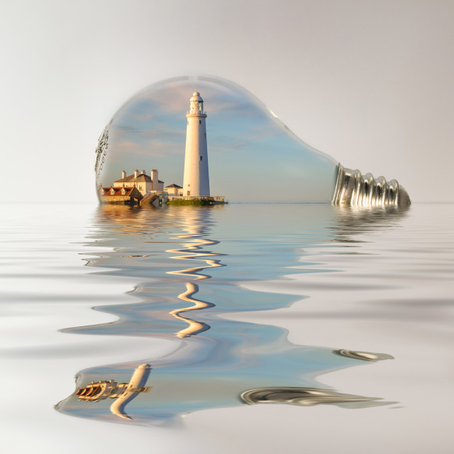 """Captured in Glass - St Marys Lighthouse"" stock image"