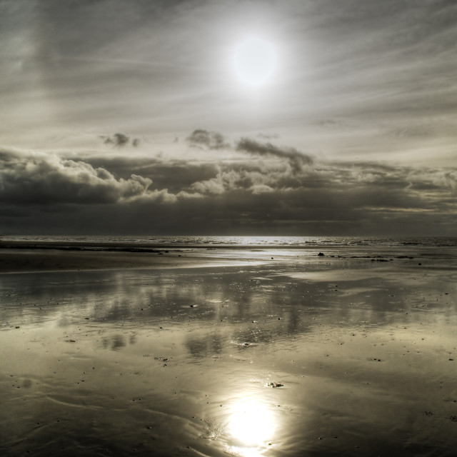"""Low tide at Borth Beach"" stock image"