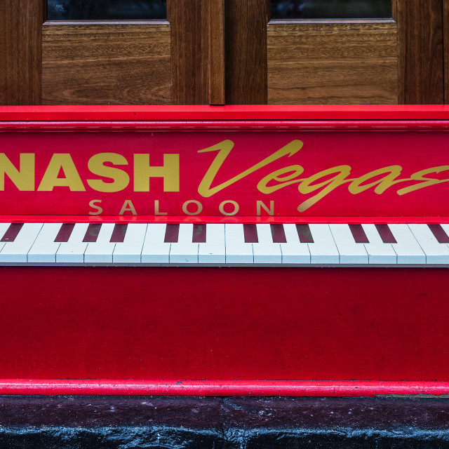 """NashVegas Saloon piano sign, Nashville, Tennessee"" stock image"