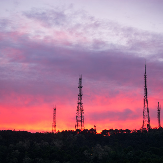 """""""Camlica TV tower and antennas in the evening colorful sunset"""" stock image"""