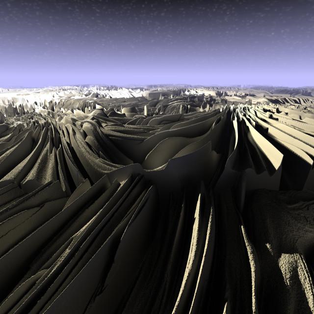 """""""Digital 3D Illustration of a surreal Landscape"""" stock image"""