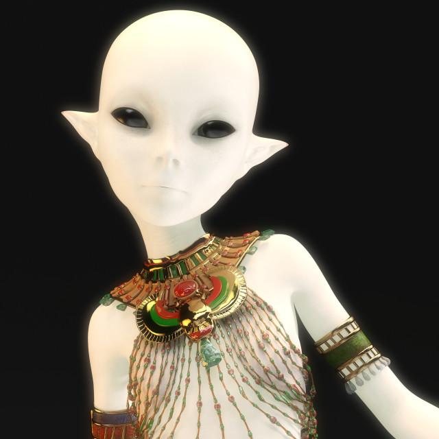 """""""3D Illustration of a female Alien"""" stock image"""