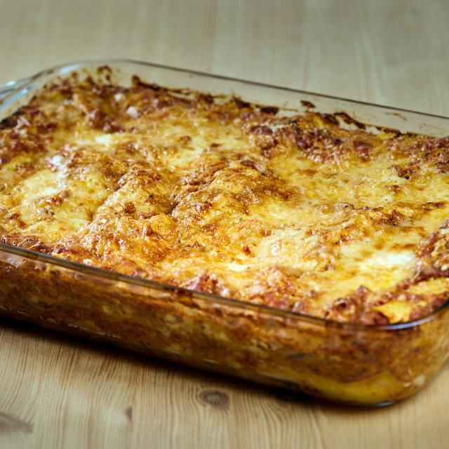 """Italian lasagna with cheese"" stock image"