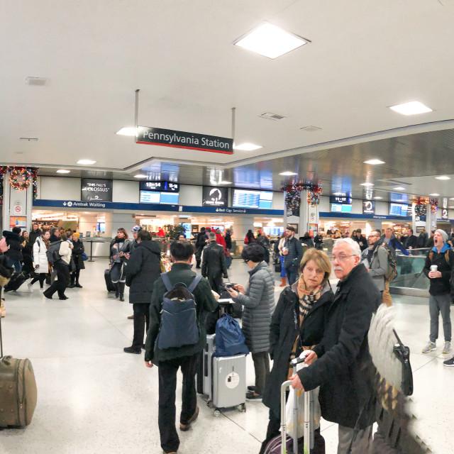 """NEW YORK CITY - DECEMBER 1st, 2018: Panoramic view of Penn Station interior..."" stock image"