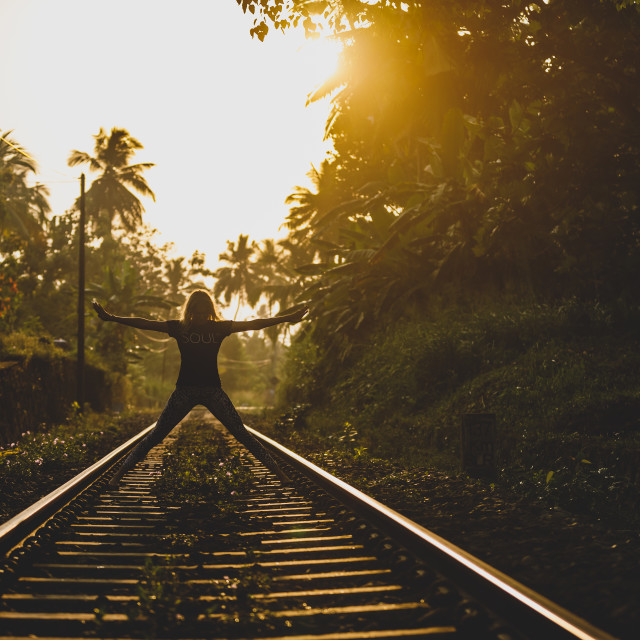 """Yoga - train tracks"" stock image"