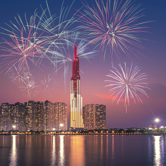 """beautiful fireworks on Saigon river side in Ho Chi Minh city, Vietnam"" stock image"
