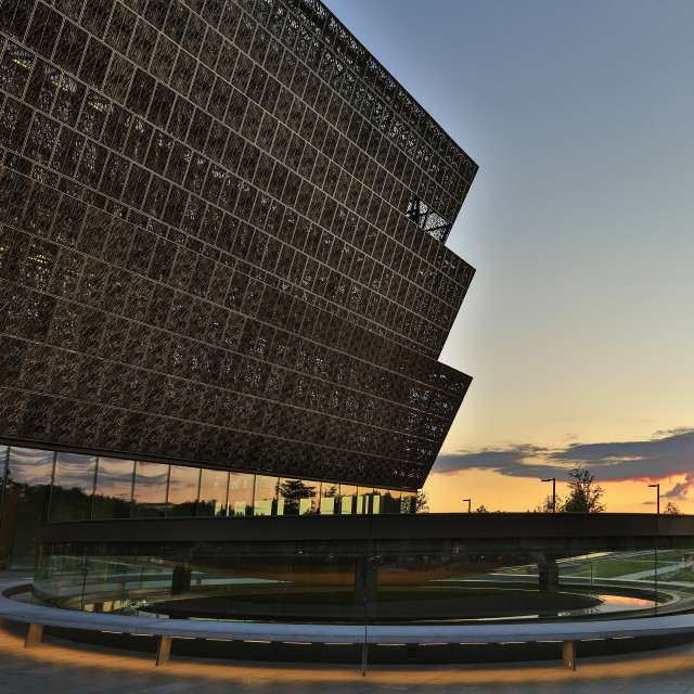 """""""Smithsonian National Museum of African American History and Culture (Contemplative Court in foreground), Washington, District of Columbia USA"""" stock image"""