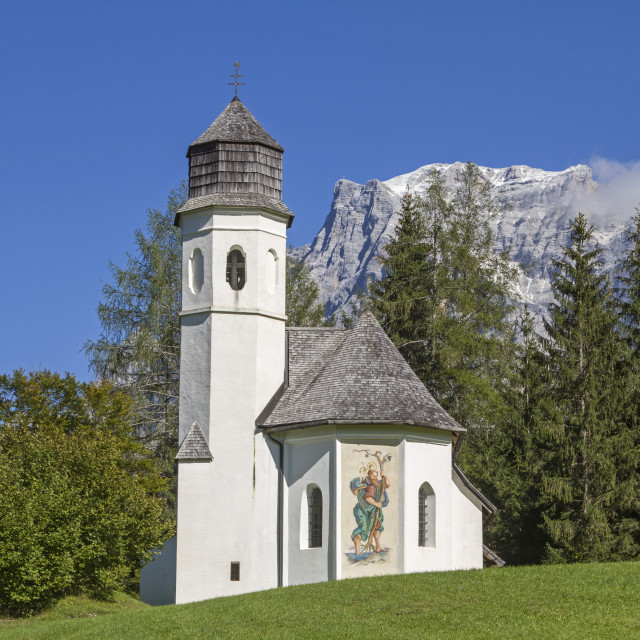 """Rochus chapel with Zugspitze"" stock image"