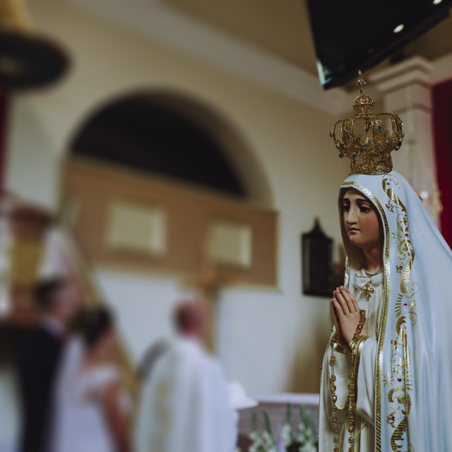 """""""Our Lady bless the newlyweds in the church"""" stock image"""